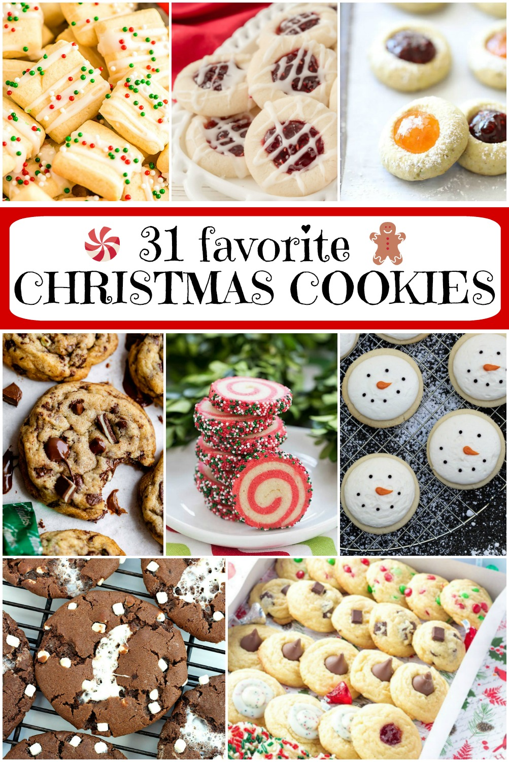 pinterest collage image for 31 favorite christmas cookie recipes