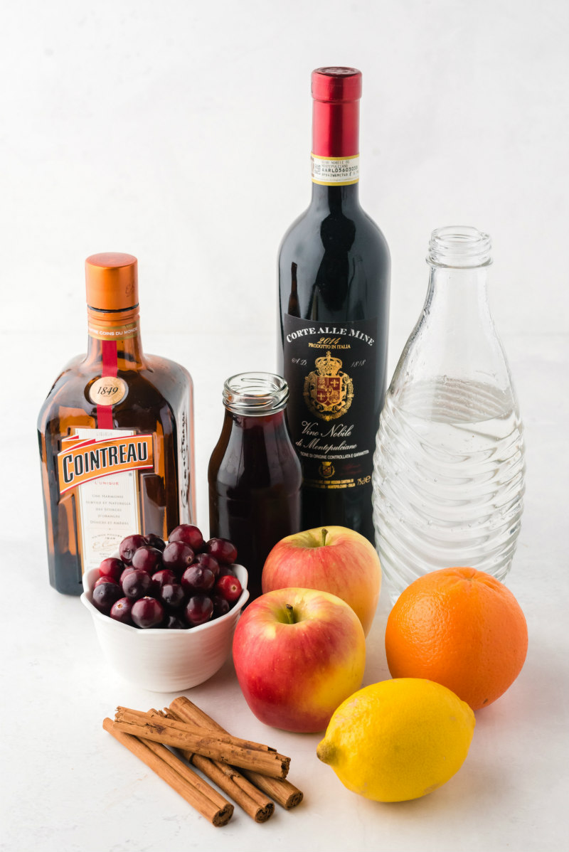 ingredients displayed for apple cranberry sangria