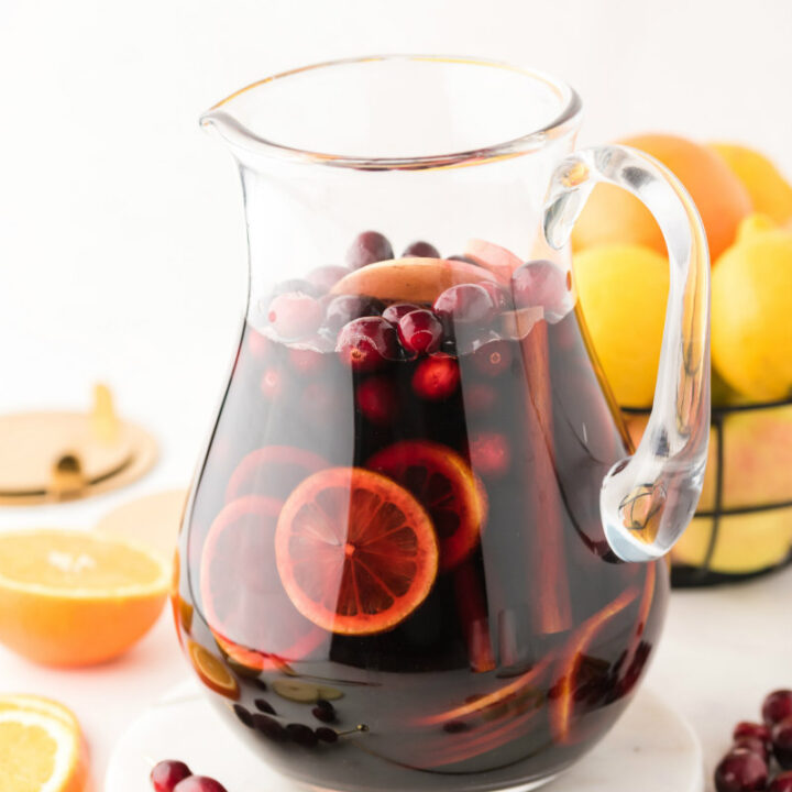 pitcher of apple cranberry sangria