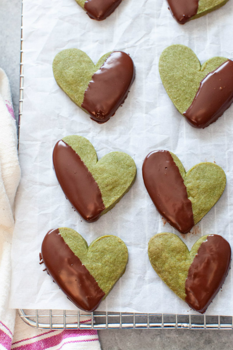 matcha heart cookies dipped in chocolate