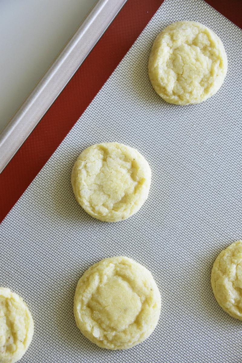 eggnog cookies on baking sheet
