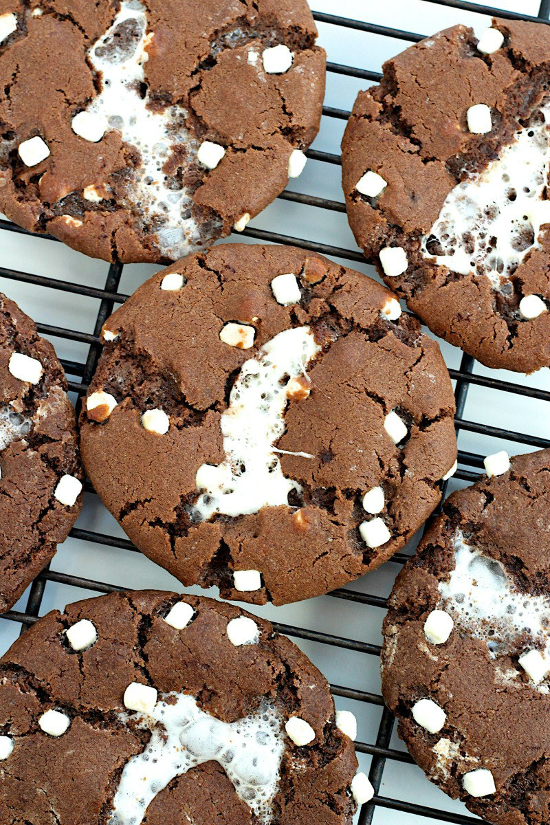 Hot Cocoa Cookies on a cooling rack