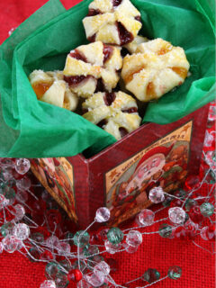 jam filled cream cheese cookies displayed in a gift box