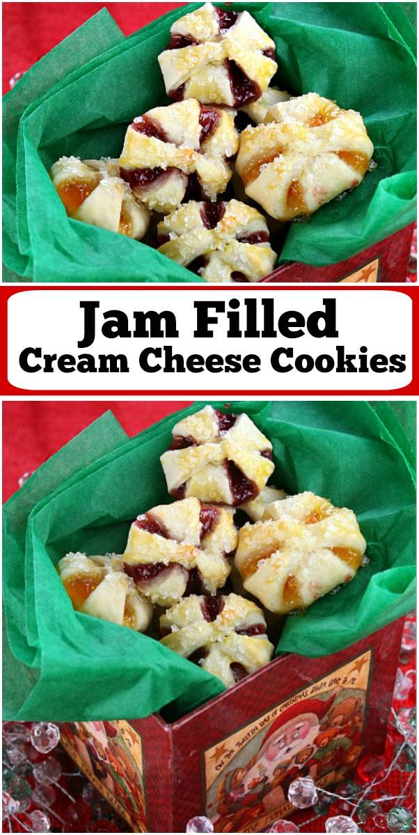 pinterest collage image for jam filled cream cheese cookies