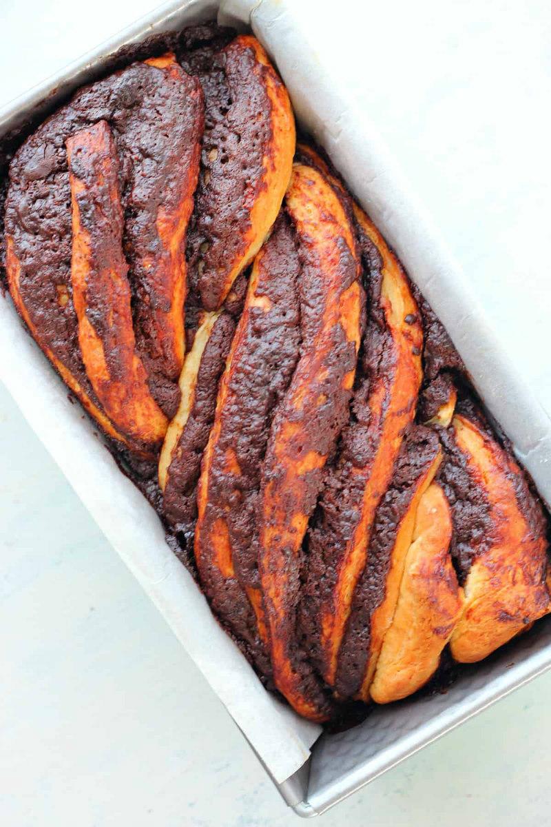 chocolate babka in baking pan
