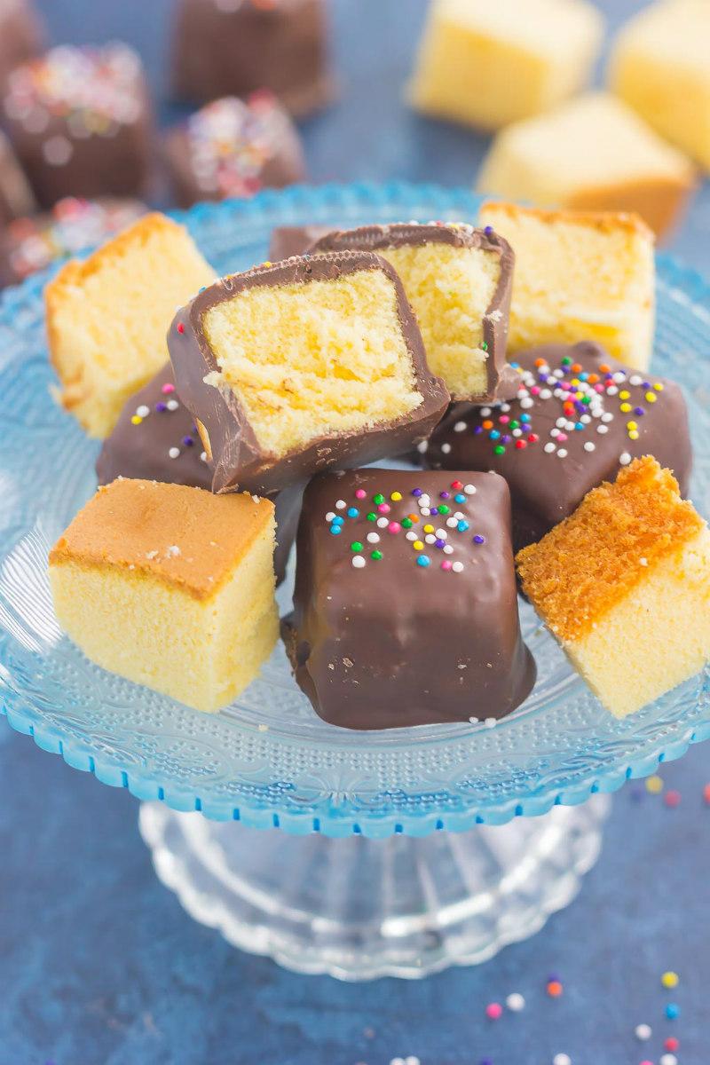 platter of chocolate covered pound cake bites