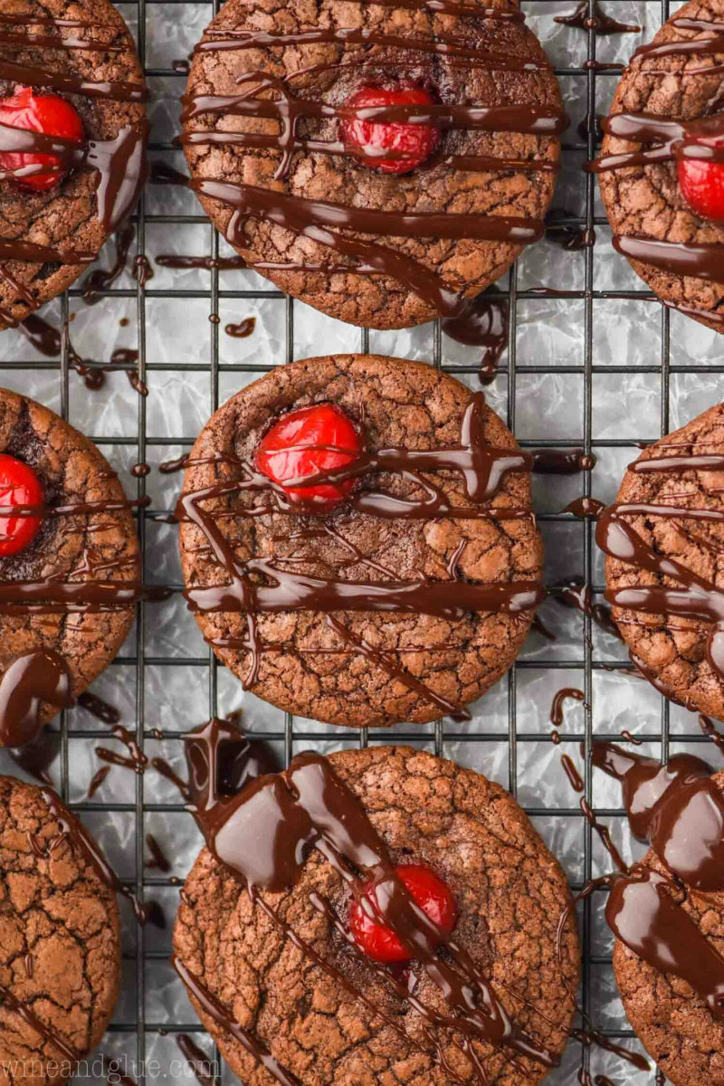 Chocolate Covered Cherry Cookies on a cooling rack