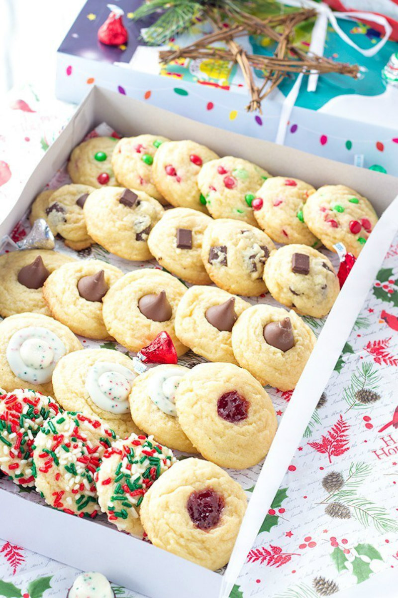 five kinds of christmas cookies in a box