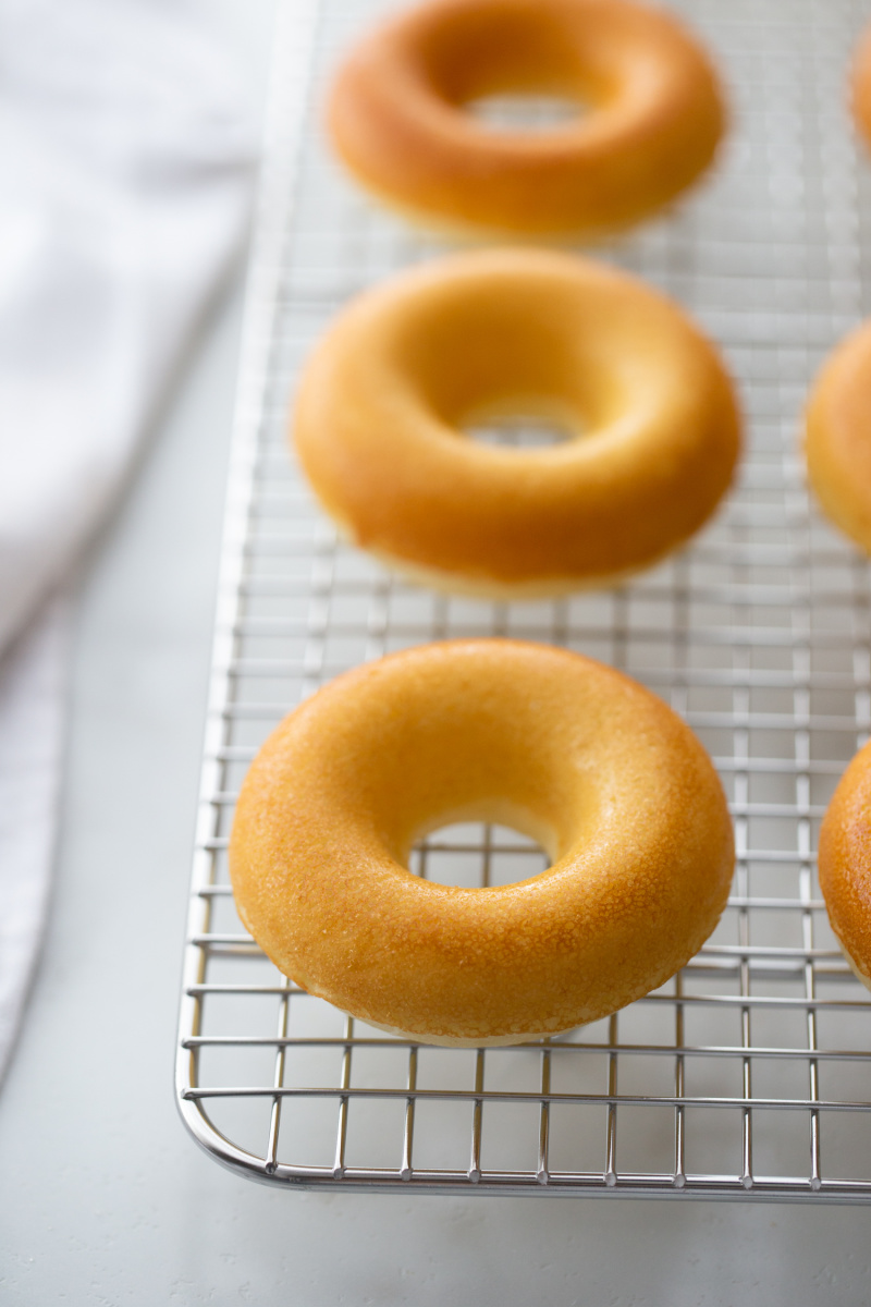 baked doughnuts on a cooling rack