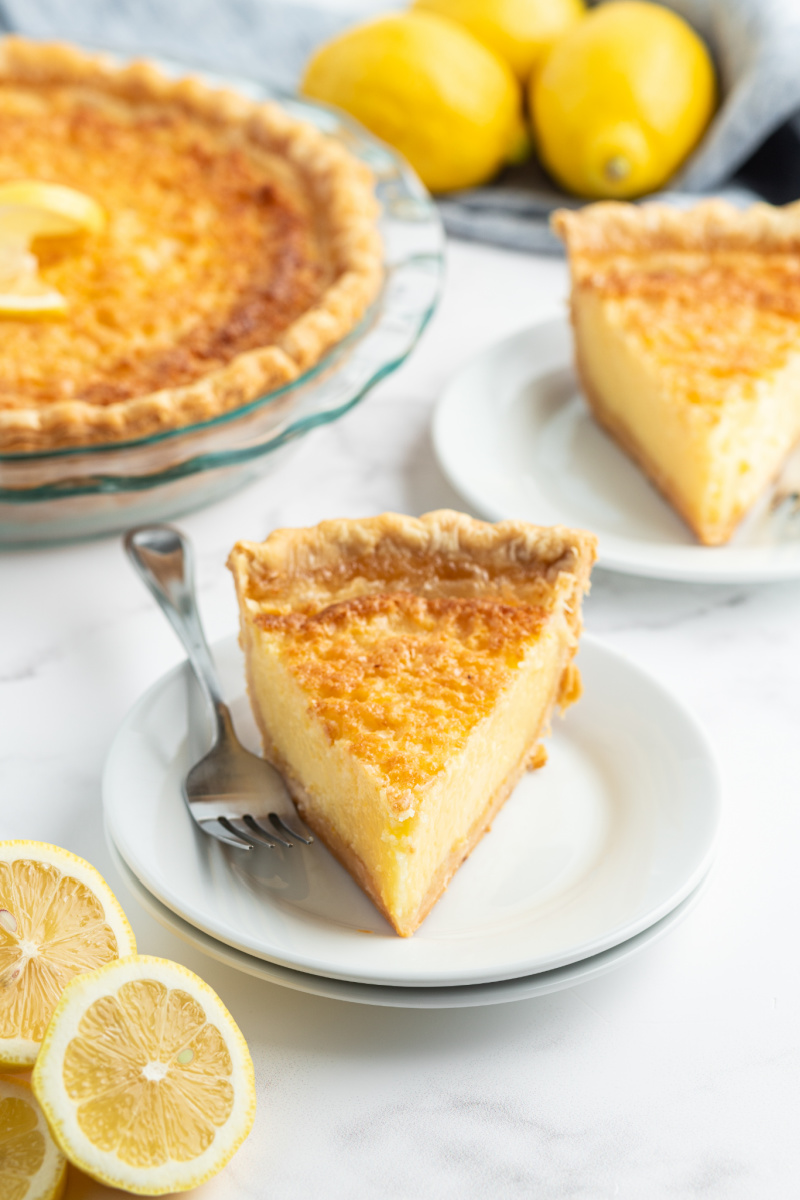 slices of lemon chess pie on plates