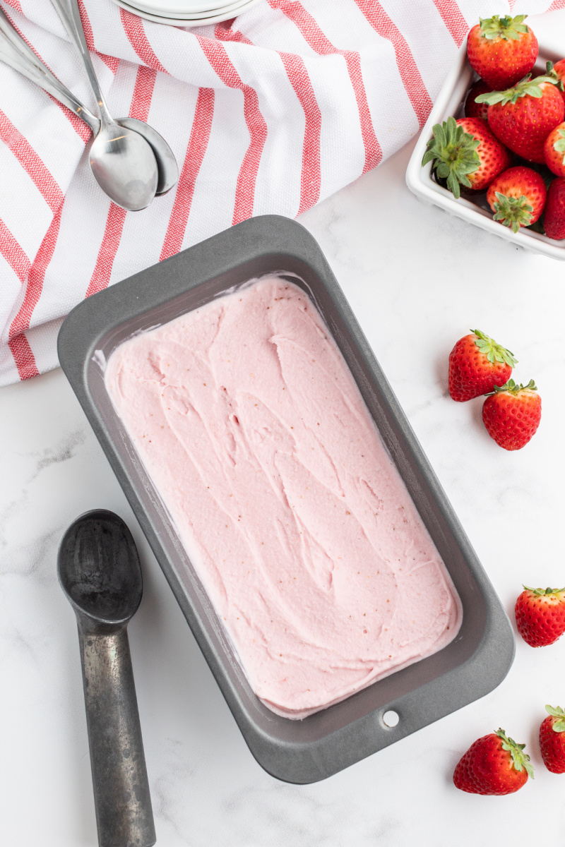 strawberry ice cream in a pan