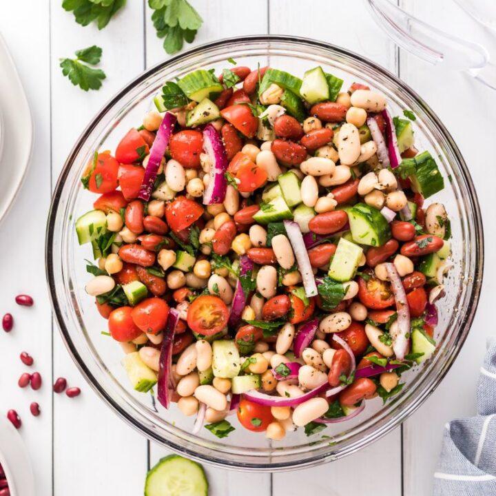 three bean salad in a bowl