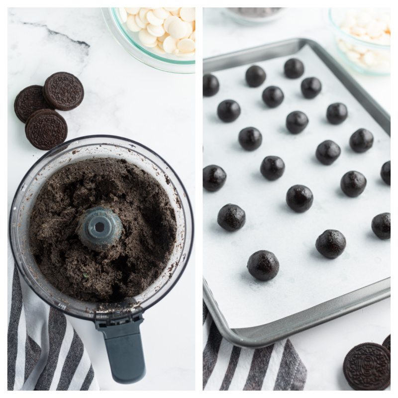 truffle mixture in a food processor and then formed into balls on a baking sheet