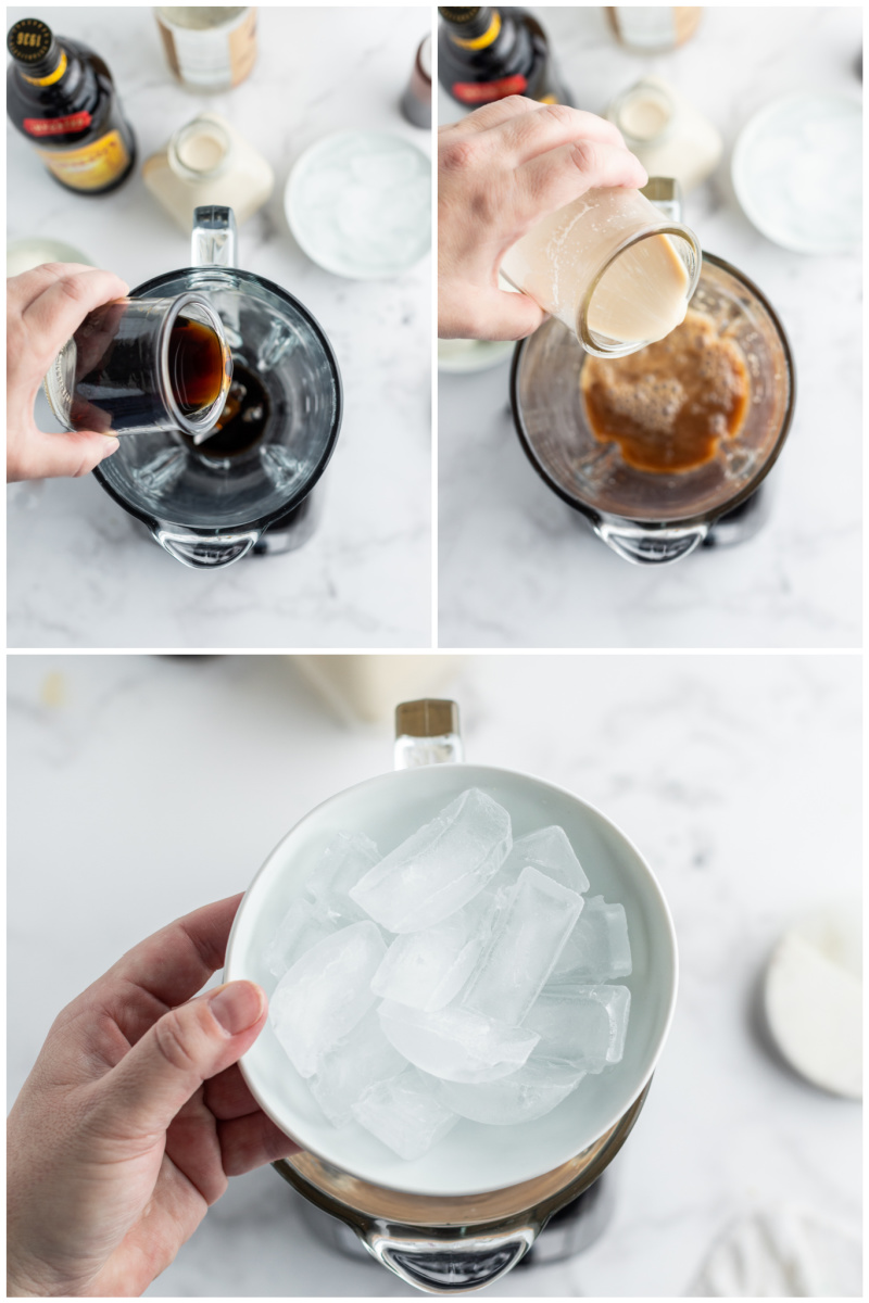 three photos showing how to make a blended cocktail