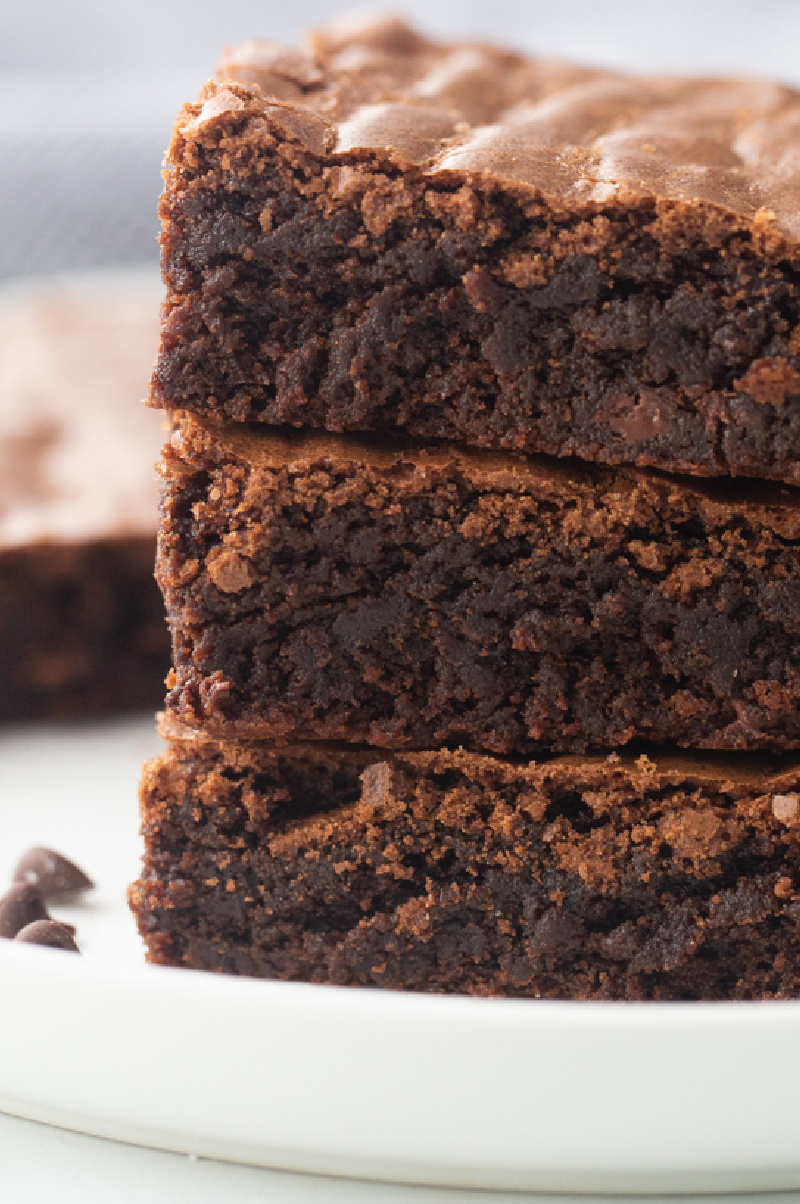 best fudgy brownies in a stack of three