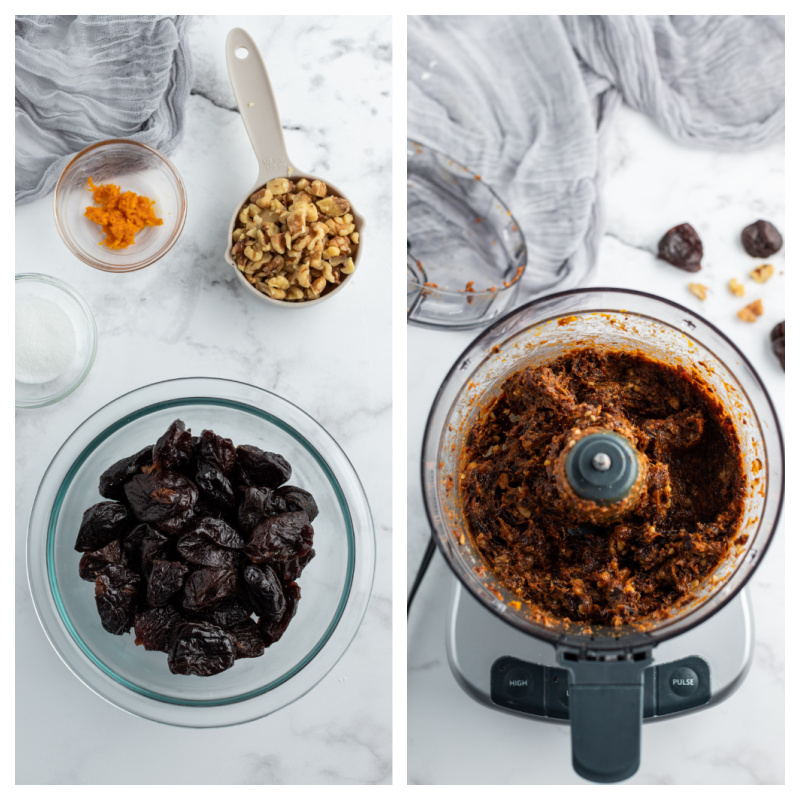 prunes in a food processor and then bowl processed