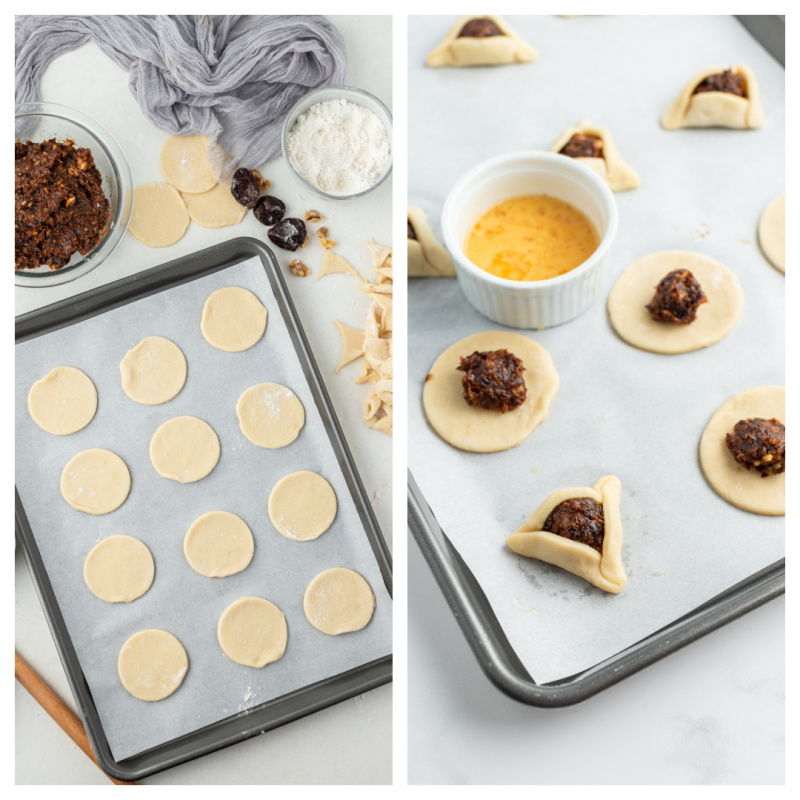 rounds of dough on a baking sheet and then cookies filled with processed prunes