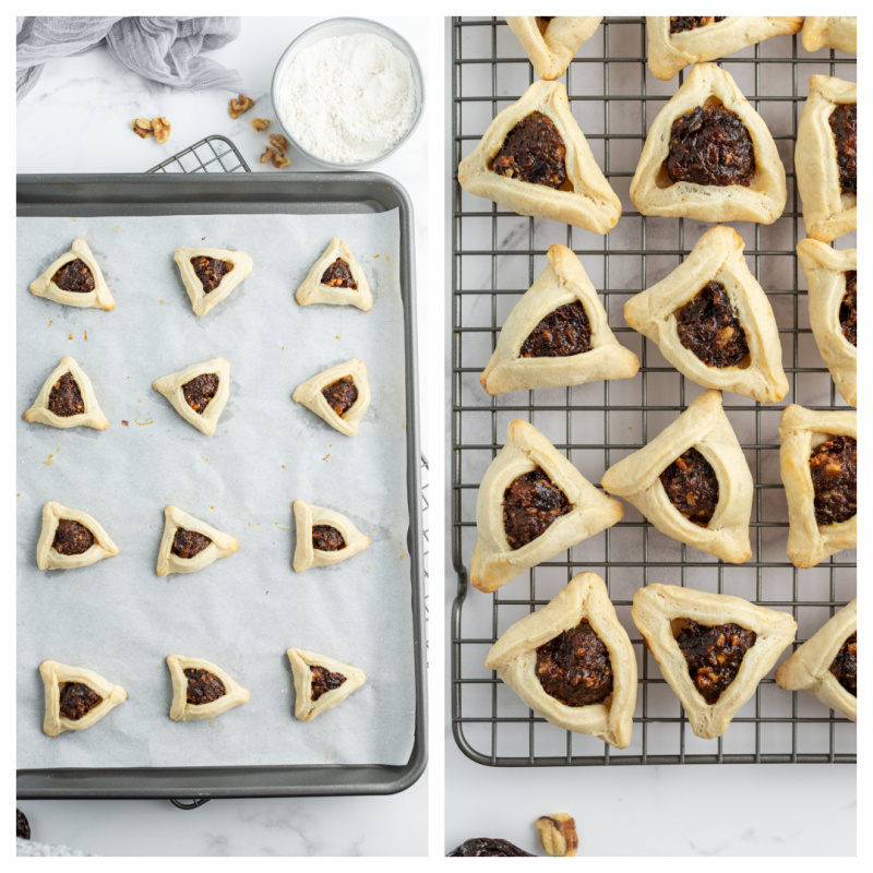 baking sheet with cookies and then cooling rack of cooling cookies