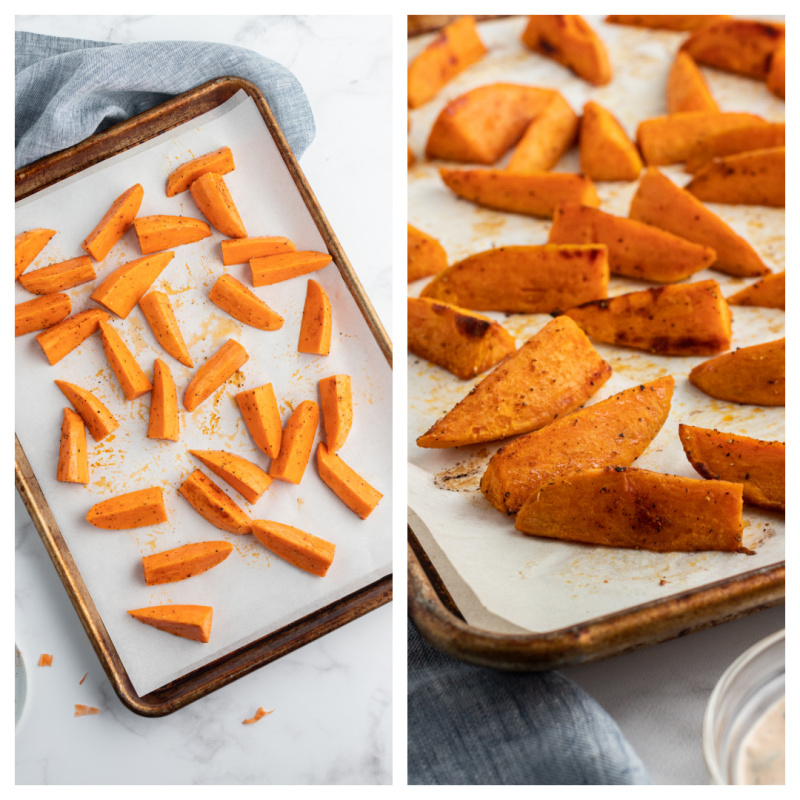 cut sweet potatoes on a baking sheet with second photo showing them roasted