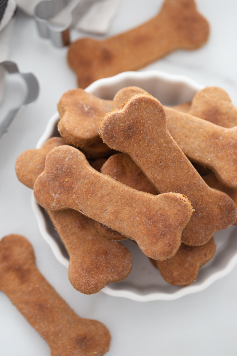 dog biscuits displayed piled in a bowl