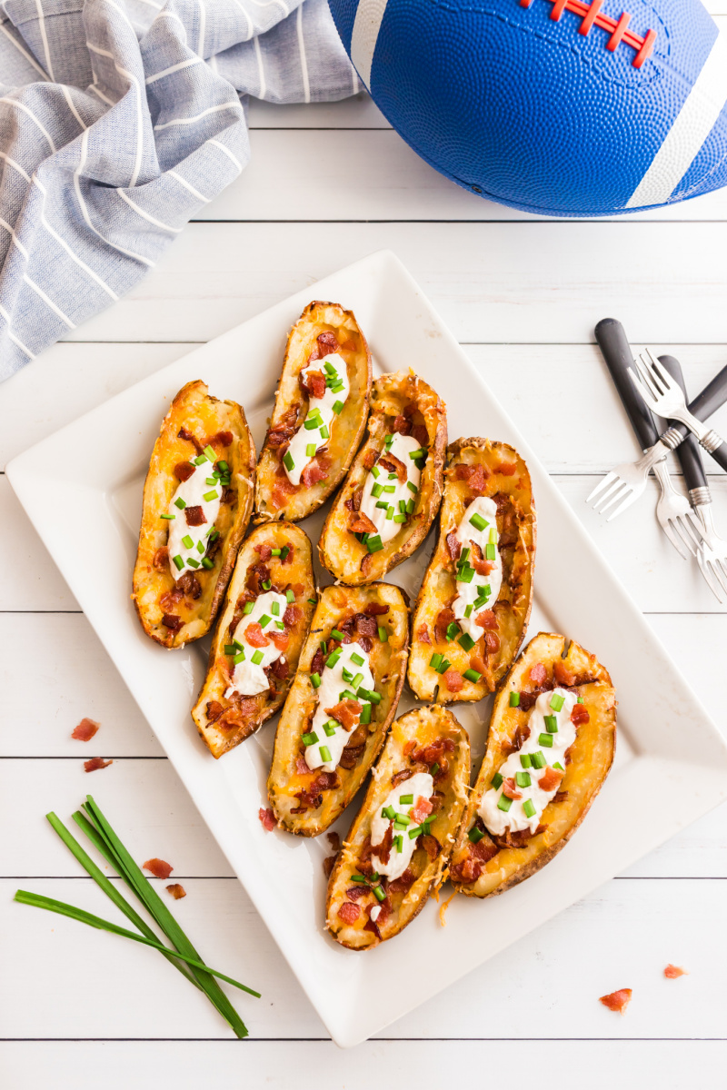potato skins on a white platter