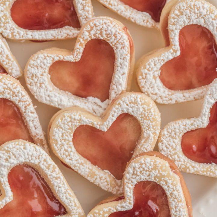 raspberry linzer cookies heart shaped