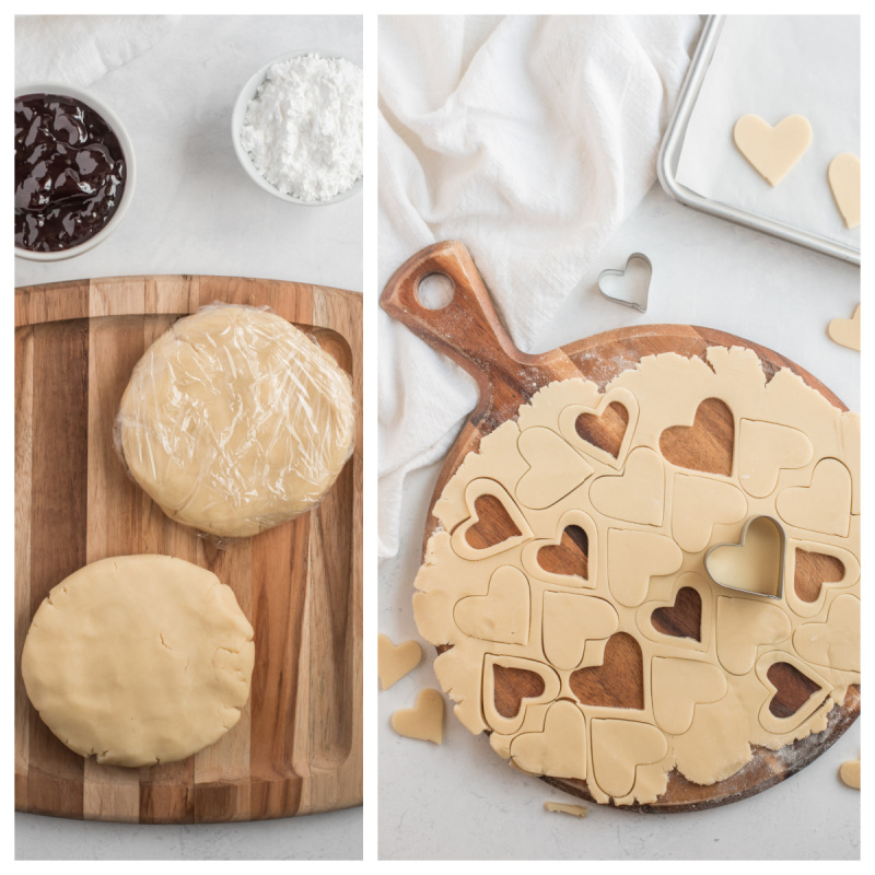dough in rounds and rolled out with heart cookie cutter