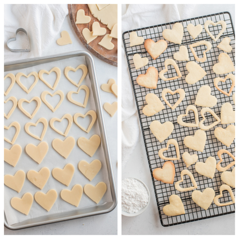 heart cookies on baking sheet and cooling rack