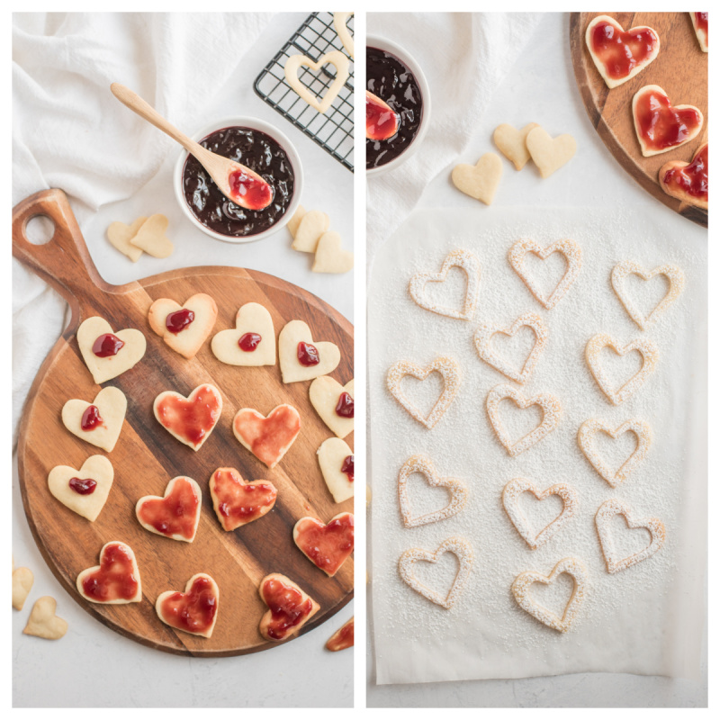 showing process of making linzer cookies heart shaped filled with raspberry jam