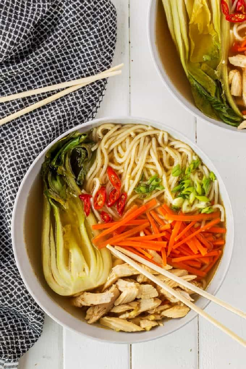 bowl of Chinese Chicken noodle soup
