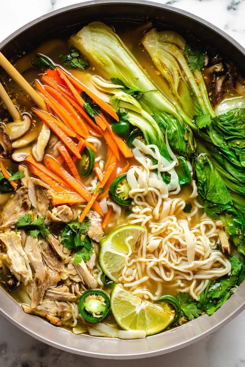 pot of asian chicken noodle soup