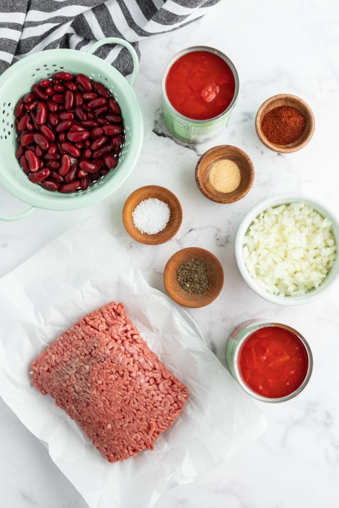 ingredients displayed for chili
