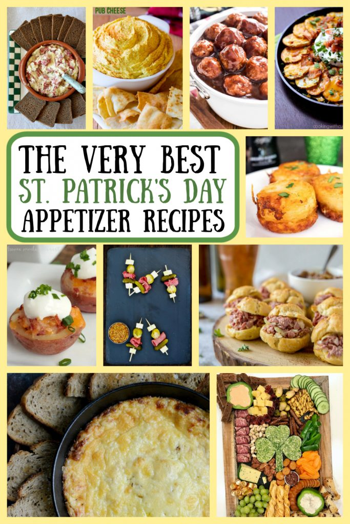 Pinterest collage image for St. Patrick's Day Appetizer Recipes