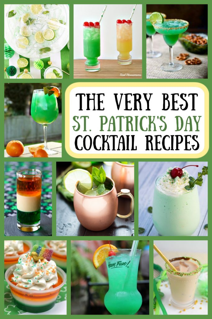Pinterest collage image for St. Patrick's Day Cocktail Recipes