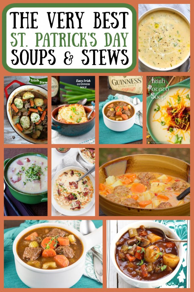 pinterest collage of best St. Patrick's Day Soups and Stews
