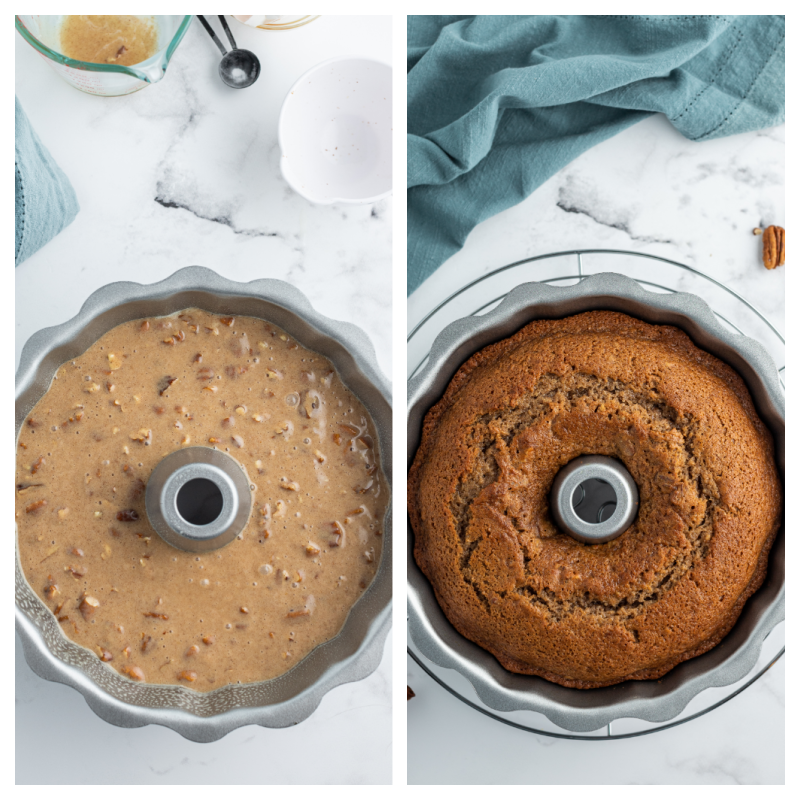 batter in bundt pan and baked cake in bundt pan