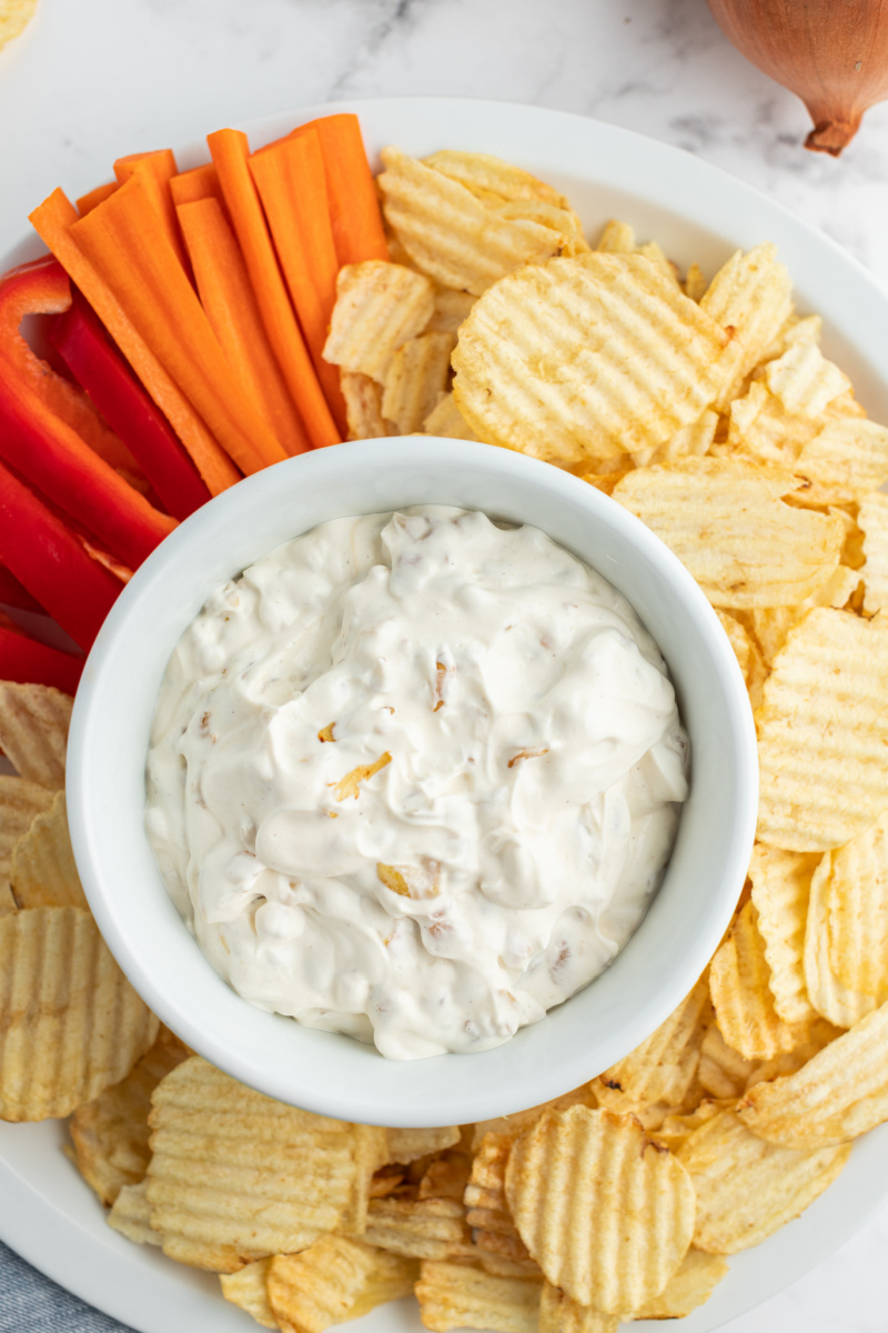 caramelized onion dip in bowl surrounded by chips and veggies