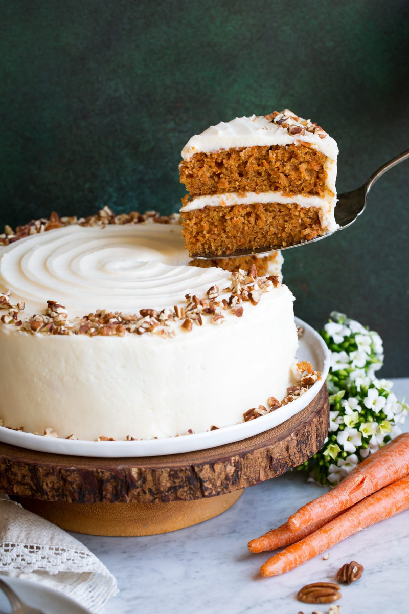 carrot cake slice coming out of cake