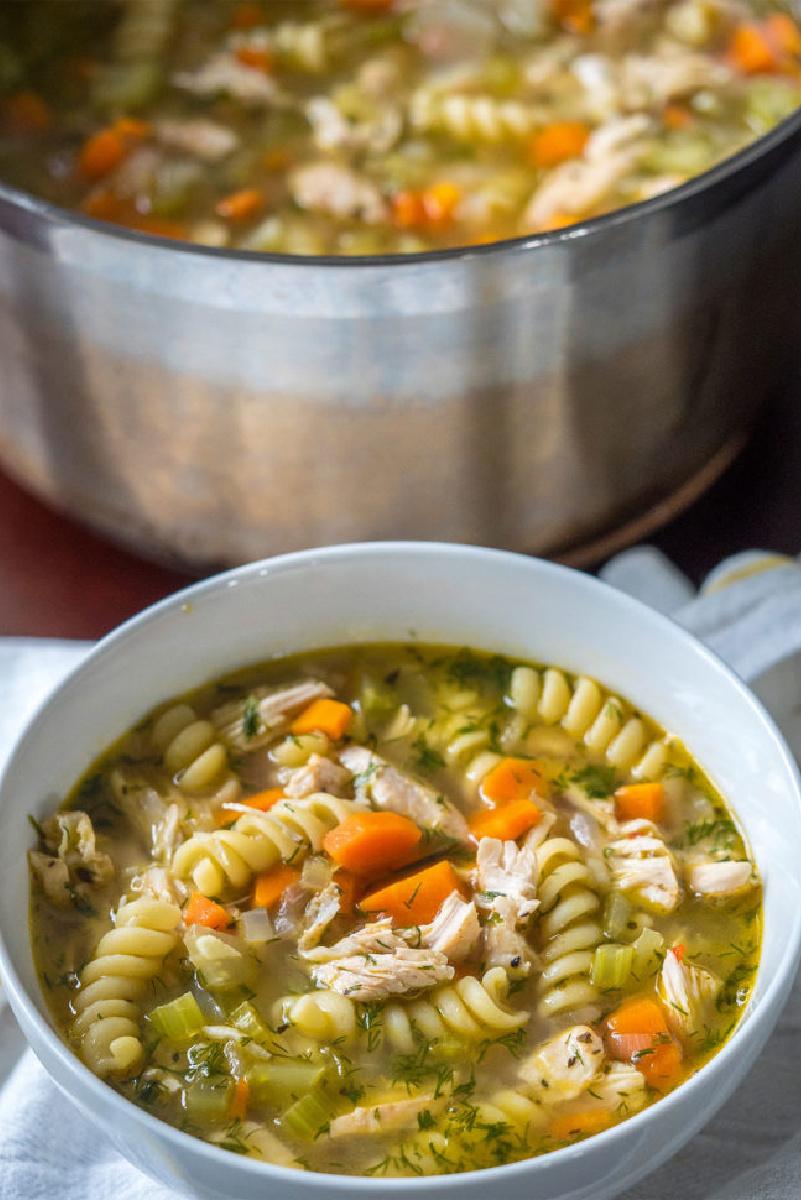 bowl of flu fighter chicken noodle soup
