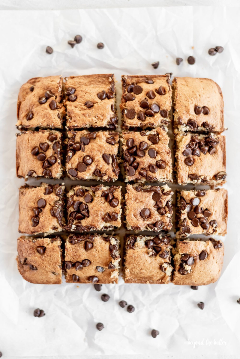 chocolate chip sour cream coffee cake sliced