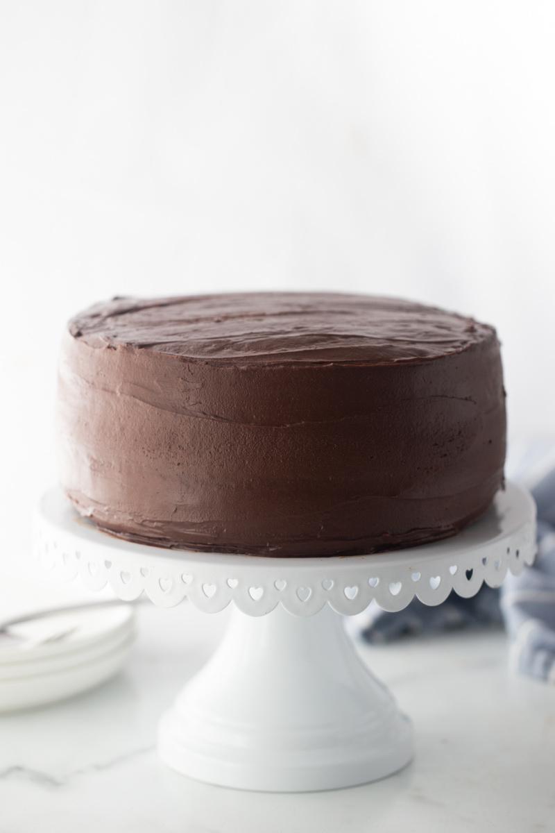 chocolate mayonnaise cake on white platter
