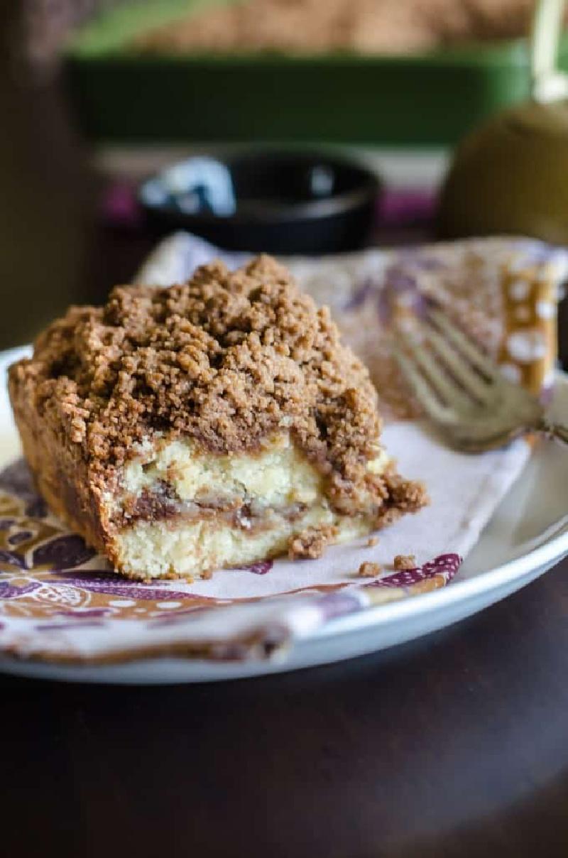 slice of cinnamon streusel coffee cake
