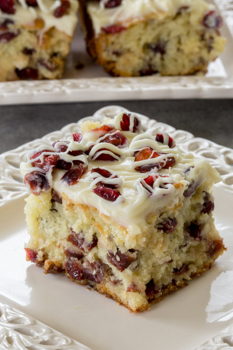 slice of cranberry bliss coffee cake