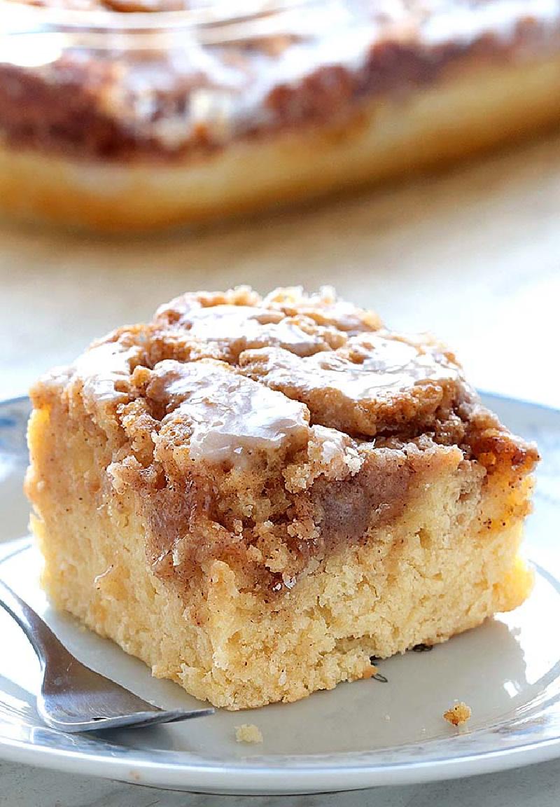 slice of easy cinnamon roll coffee cake