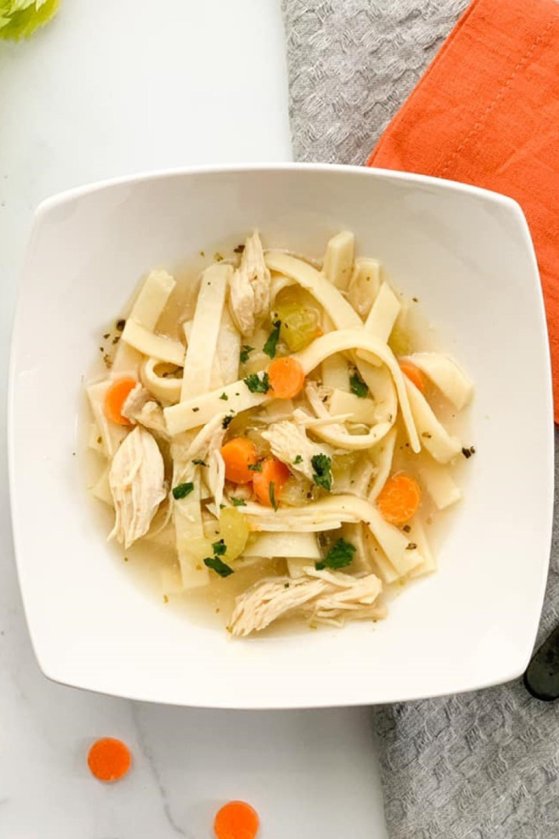 bowl of weight watchers chicken noodle soup