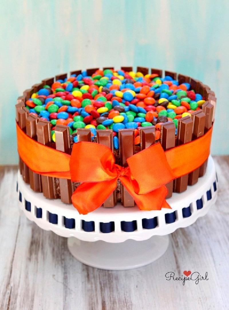 kit kat cake with orange bow
