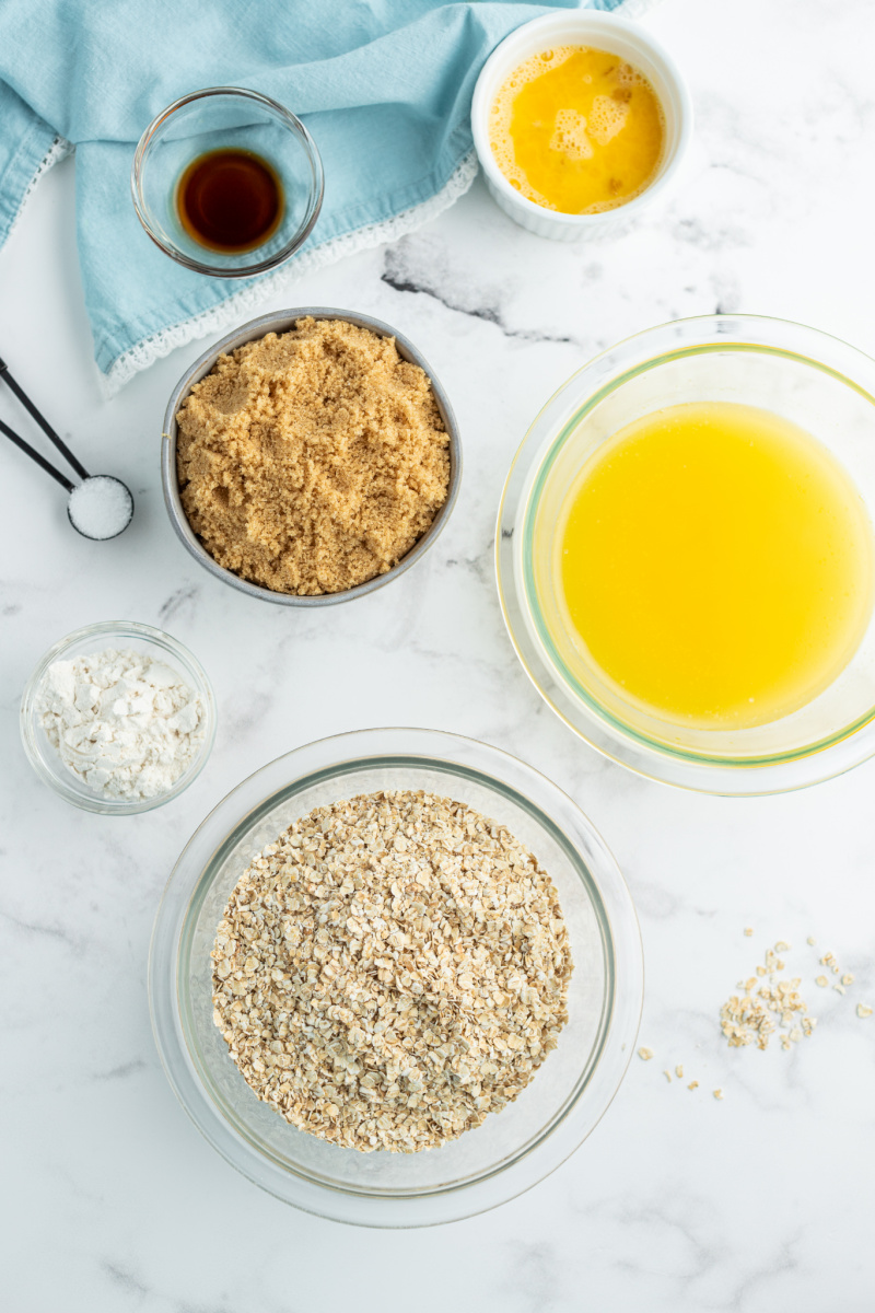 ingredients displayed for lacy oatmeal cookies