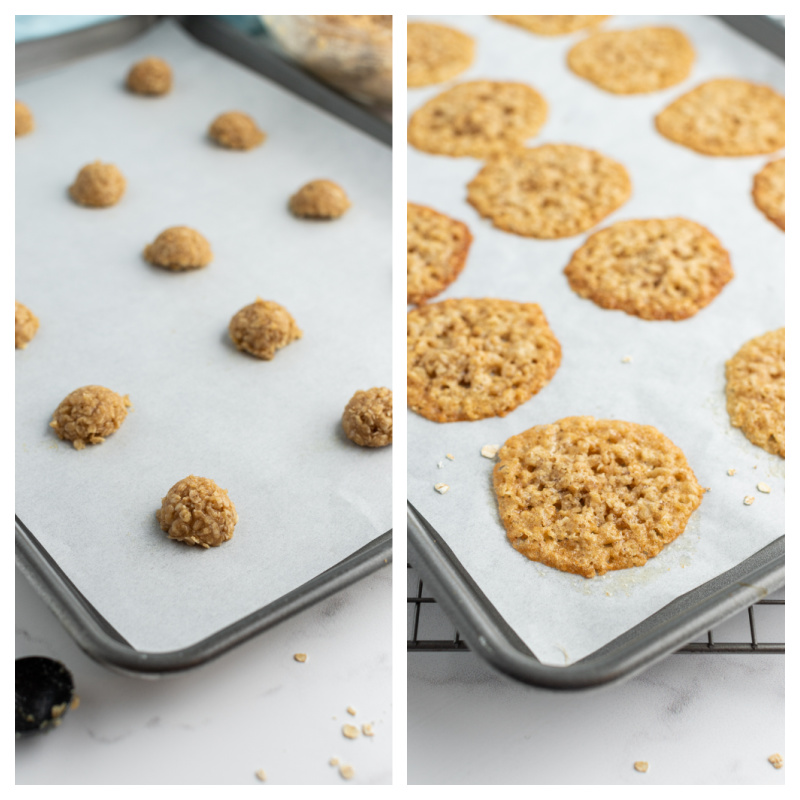 lacy oatmeal cookie dough on baking sheet and baked cookies