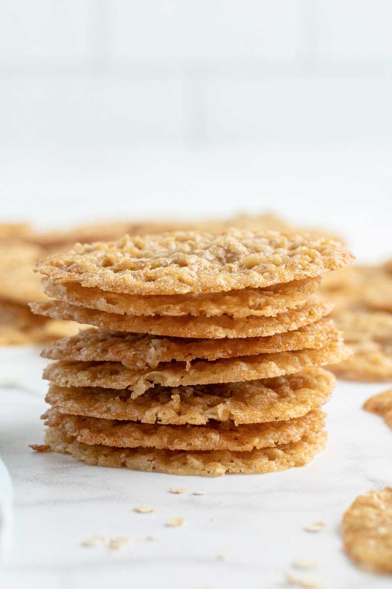 stack of lacy oatmeal cookies