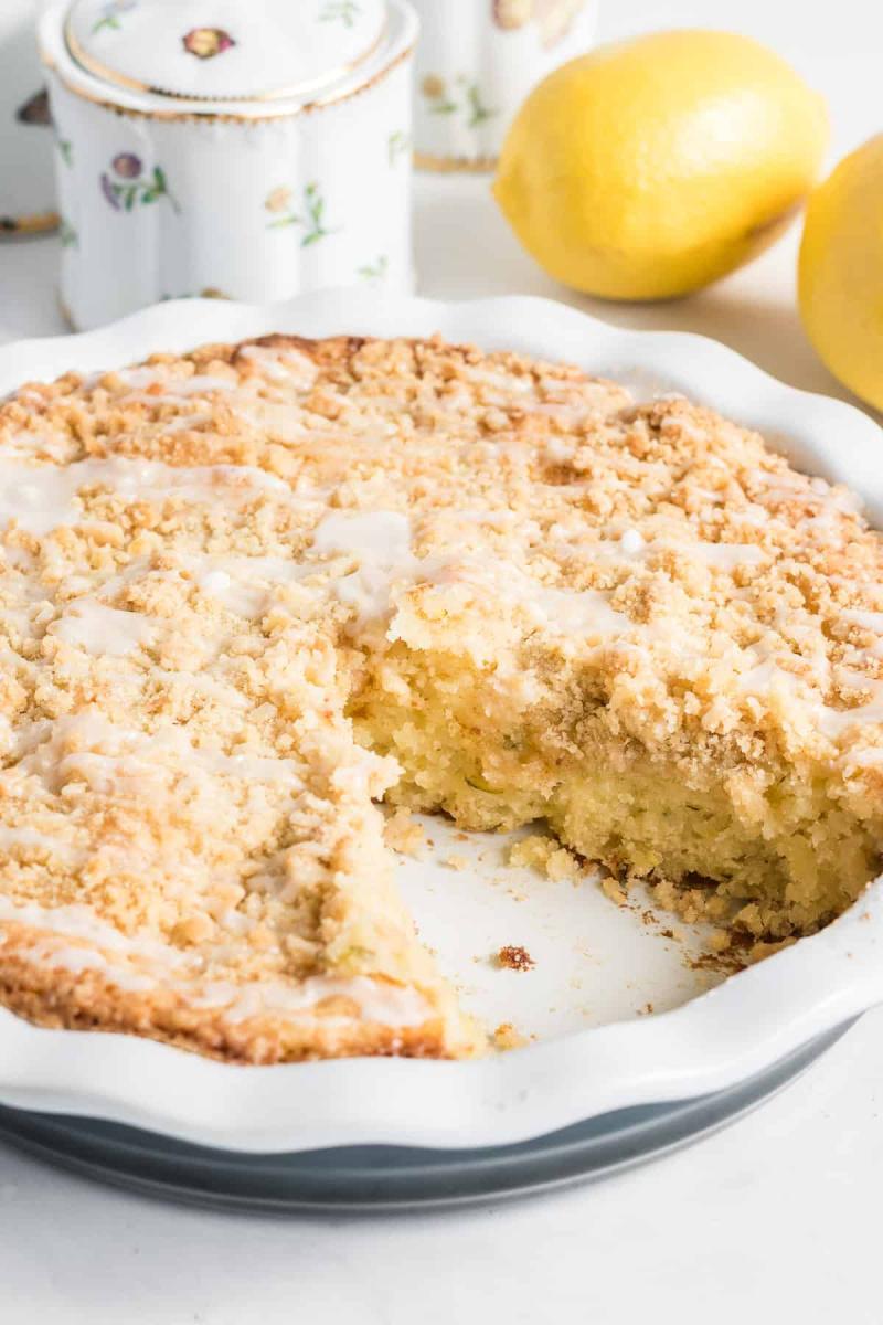 lemon zucchini coffee cake in pie pan